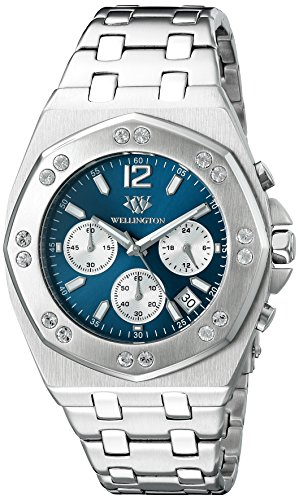 Wellington Darfield Men's Quartz Watch with Blue Dial Chronograph Display and Silver Stainless Steel Bracelet WN511-131