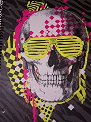 Fashionable Fun College Ruled Spiral Notebook Neon Dressed Skull (8 X 10.5; 70 Sheets, 140 Pages