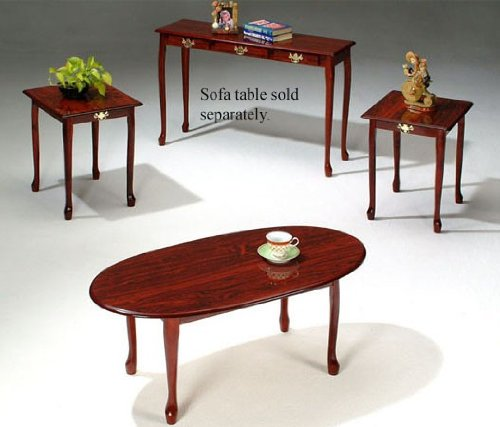 3pc Coffee Table End Table Set Cherry Finish Kobenilu