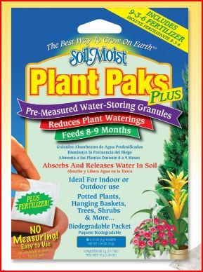 Soil Moist Watering Polymer Plant Paks Plus - Includes An 8-9 Month Timed Release 9-3-6 Fertilizer