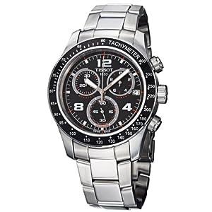 Tissot Men's T0394171105702 V 8 Stainless Steel Chronograph Black Dial Watch