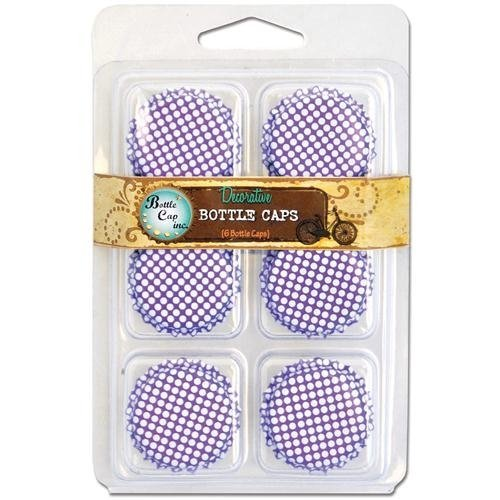 "Vintage Collection Double Sided Bottle Caps 1"" 6/Pkg-Polka Dot Bright Purple W/White"