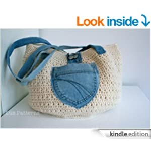 Crochet Book Bag : Crochet book crochet bag pattern with up upcycled jeans (101) [Kindle ...