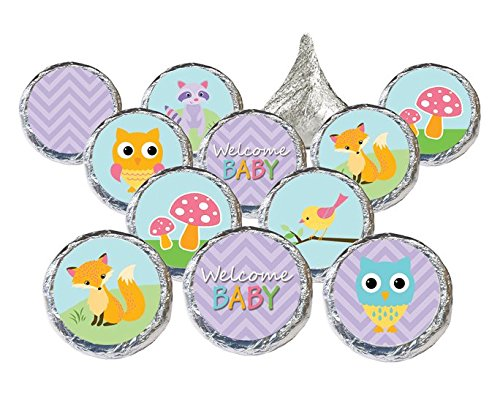 It's A Girl Woodland Animals Purple Baby Shower Favor Stickers for Hershey Kisses (Set of 324) (Forest Baby Shower Invitations compare prices)