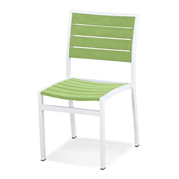 POLYWOOD A100-13LI Euro Dining Side Chair in Textured White Aluminum Frame Lime