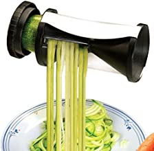 Attmu Vegetable Spiral Slicer - Perfect Vegetti Spiralizer Stainless Steel Spiral Cutter for Low Carb Healthy Vegetable Meals with Japanese Blades and 2 Julienne Sizes - Includes a Cleaning Brush