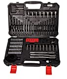 Terratek 110Pcs combination HSS Drill Bits,Screwdriver Set for Masonry, Wood and Steel in Carry Case