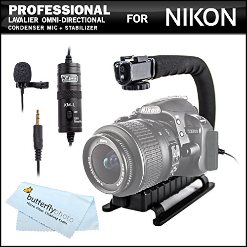 Professional Lavalier (Lapel) Omni-Directional Condenser Microphone - 20' Audio Cable + Video Stabilizer Kit For Nikon D3300, D5300, D5200, D800, D610, D7100, D4S, D7000, D600, D3200, D5100, D810 Dslr Also For Nikon Coolpix P600, P530, P7700, P7800 Camera