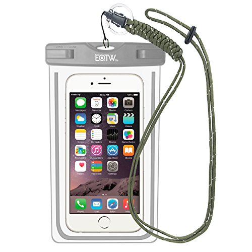 iPhone6/Samsung 防水ケース EOTW® 防水携帯ケース アウトドア潜水 温泉 釣り お風呂 水泳 砂浜等最適な防水袋 スマホケース・カバー 救助用ネックストラップ付属 防水国際保護等級:IPX8認定獲得 iPhone 6 Plus/ Samsung Galaxy/Nexus/Sonyなど全機種対応 スマートフォン用防水・防塵ケース (グレー)
