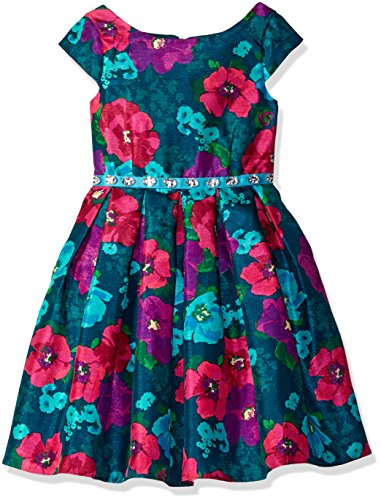 Bloome Big Girls' Floral Shanung Special Occasion Dress with Rhinestone Waist, Teal/Multi, 10