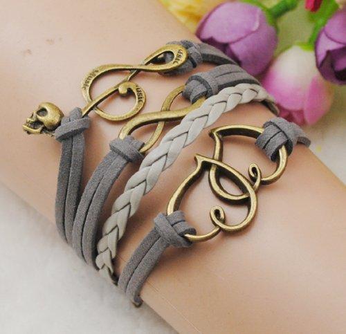 Heart Music Infinity Antique Bronze Korea Velvet Friendship Grey Leather Cute Charm Bracelet B920