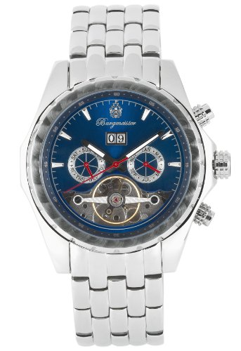 Burgmeister Valencia Bm137-131 Gents Automatic Analogue Wristwatch Stainless Steel Bracelet Blue Dial Visible Balance-Wheel Date Day Month
