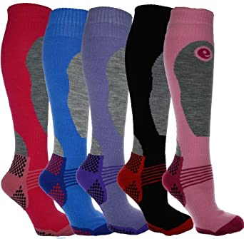 4 Pairs - HIGH PERFORMANCE ladies ski socks - long hose thermal socks - Size UK 4-7 (EUR 35-41)