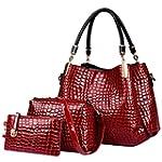 Crocodile Leather Women Handbag Set:L...