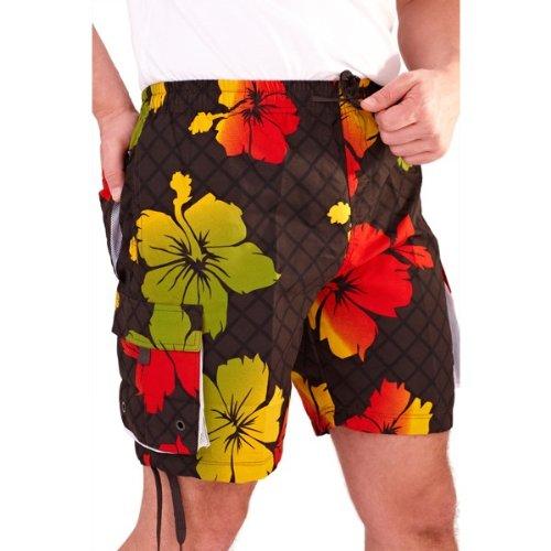 Mens Hibiscus Design Swim Shorts with Pockets (Medium, Brown/Green)
