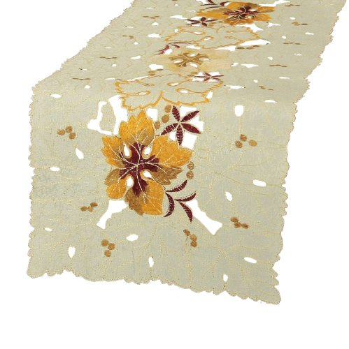 Xia Home Fashions Autumn Ambiance Embroidered Cutwork 12 By 28-Inch Table Runner, Mini front-516128