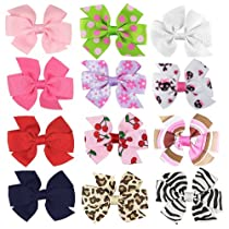 HipGirl Boutique Girls 12pc Set Small 3 Grosgrain Ribbon Pinwheel Hair Bow Clips Barrettes-One Size in Gift Box