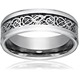 Dragon Scale Dragon Pattern Beveled Edges Celtic Rings Jewelry Wedding Band For Men Silver 8 9 10 11 12 13