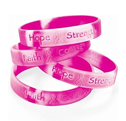 Lot Of 48 Pink Ribbon Camo ~ Breast Cancer Awareness Bracelets front-1032036