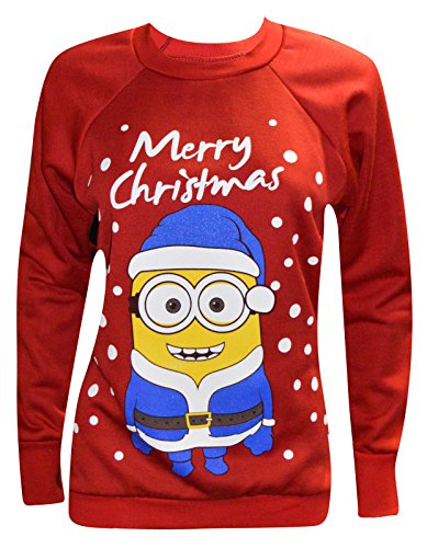 Women-Ladies-Xmas-Novelty-MinionOlaf-Print-Christmas-Sweatshirt-Jumper