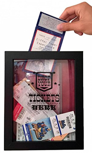 Ticket Shadow Box - Memento Frame - Large Slot on Top of Frame - Memory Box Storage Just Right for Any Size Tickets . Best Display for the Concert Movie Theater and Sporting Event Tickets Stubs . (Target Gift Card $10 compare prices)