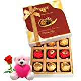 Chocholik Luxury Chocolates - Couple Love Gift Hamper Gift Box With Teddy And Rose