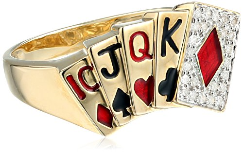 Men's 10k Yellow Gold Diamond Poker Ring (1/10 cttw, I-J Color, I2-I3 Clarity), Size 10