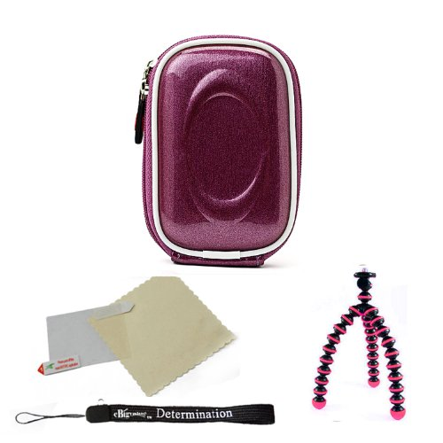 Candy Purple Durable Slim Protective Storage Cover Cube Carrying Case with Internal Mesh Pocket with Carabiner clip for Casio EXILIM EX-H15 EX-H20G EX-Z35 EX-Z550 EX-Z800 EX-Z2000 EX-Z2300 Point and Shoot Digital Camera + Includes Pink 6 Inch Mini Flexi Tripod + Includes a Anti Glare Screen Protector