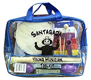 Young Musician Toolkit - Musical Instruments for Kids - Xylophone, Recorder, Tambourine, Harmonica, Kazoo, Two Egg Shakers - Convenient Carrying Case - Durable Quality