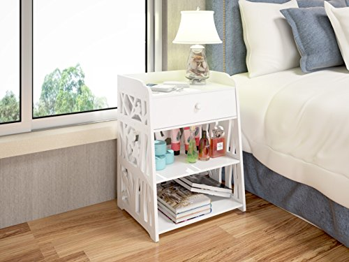 Read About Mybestfurn Bird Pattern White Nightstand Bed End Cabinet Living Room Multifunctional Cabi...