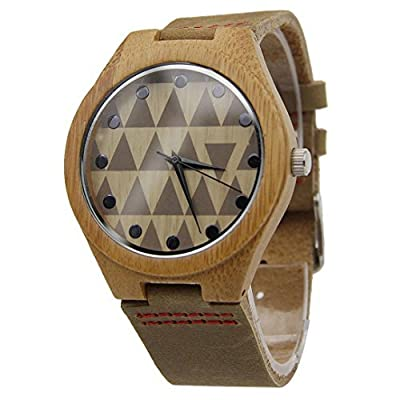 WensLTD Men Leather Band Bamboo Case Wooden Watches Stylish Punk Style