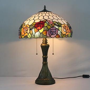 Lampada di vetro tiffany macchiato 16 pollici comodino rosa lampada da tavolo...