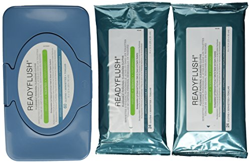 ReadyFlush 8x12 Personal Cleansing Cloths - Tub of 60 Flushable Wipes + 2 Refill Packs (Flushable Adult Wet Wipes compare prices)