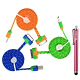 Techview(L026) Bundle of 3 Colorful 1M 3FT Cloth Jacketed Braided Noodle Flat USB Data Sync Charging Cable Cord for Apple iPhone 4G 4S iPod touch iPad 1 2 3- Green,Blue,Orange