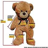 XL-Kuschel-Teddybr-100-cm-diag-gro-in-Braun-TV-SD-geprft-Kuscheltier-Stofftier-Plschbr-Teddy