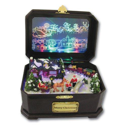 Christmas Music Box Holiday Fiber Optic Lighted Santa Claus Village Musical