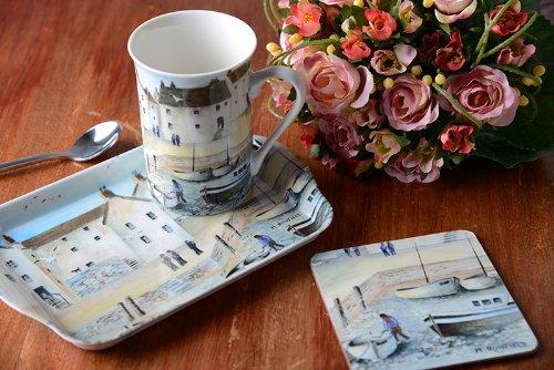 Cornish Harbour - Time For Tea Mug Coaster & Tray Gift Set