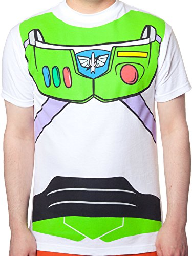 [Men's Toy Story Buzz Lightyear Costume T-Shirt White XL] (Buzz Lightyear Shirt Costume)