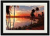 パームス湖サンセット 風景の写真木製黒額縁アートポスター(40cmx60cm)