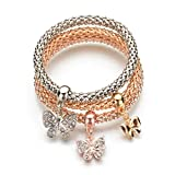 COMISAN 3pcs Stretch Bracelets Elastic Corn Chain Gold Plated Charm Bangles (Butterfly)