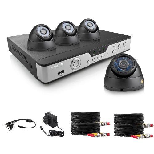 ZMODO Überwachungskamera Set Video Überwachungssystem 4 Kanal DVR Rekorder 4x 600TVL Hohe Auflösung Sicherheitskameras IR Distanz bis zu 80ft ohne Festplatte