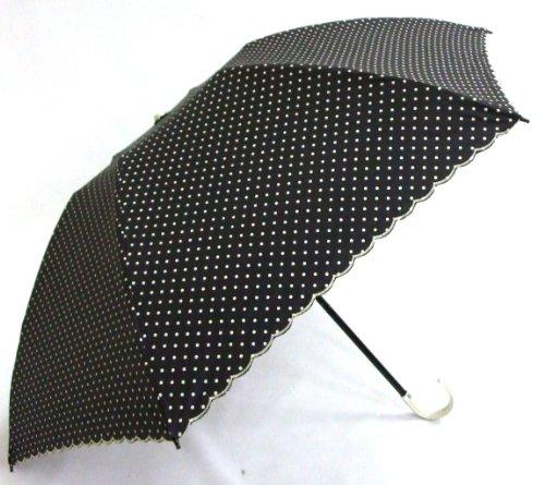 <開いた形が綺麗>クイック開閉式 晴雨兼用3段折傘 UV&遮光率99%カット 曲がり手元 ピンドット 黒