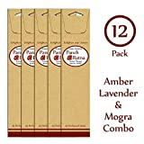 Panchratan Perfumed Charcoal Incense Sticks ( Pack Of 12, 23cms, Amber, Mogra And Lavender Fragrance )