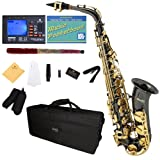Mendini by Cecilio MAS-BNG+92D+PB Black Nickel Plated and Gold Keys E Flat Alto Saxophone with Tuner, Case, Mouthpiece, 10 Reeds and More