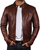 Brandslock Mens Biker Leather Bomber Jacket Coat Designer Small Brown