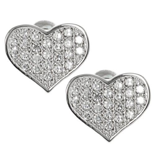 Tressa Silvertone Pave-set Cubic Zirconia Heart Stud Earrings