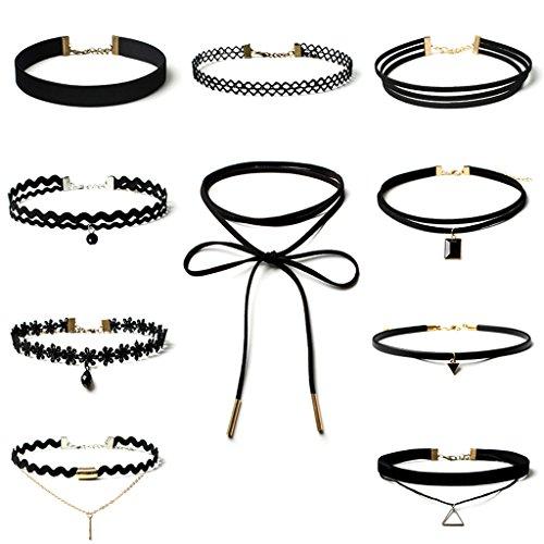 aienid-damen-10-stuck-choker-halskette-sets-lesbie-velvet-band-strippe-kropfband-punk-gothic-schwarz