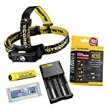 Nitecore HC90 Headlamp New Version For Hiking/ Climbing/ Camping/ General Outdoor Recreation Utilizes CREE XM-L2 LED Maximum Output Up To 900 Lumens Maximum Runtime 200 Hours + Nitecore i2 Charger + NL189 3400mAh 18650 Battery + EastShine EB182 New Battery Box to Keep Your Battery Safe(Nitecore HC90 + I2 Charger + 3400mAh Battery + Battery Box)