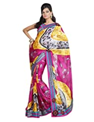 Dealtz Fashion Casual Printed Saree With Unstitch Blouse