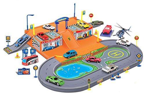 Super-Parking-Garage-Diecast-Racing-Playset-4-Metal-Vehicles